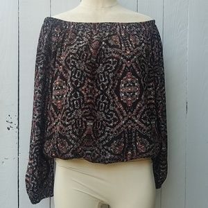 THREE EIGHTY blouse top, Black Red NEW Small